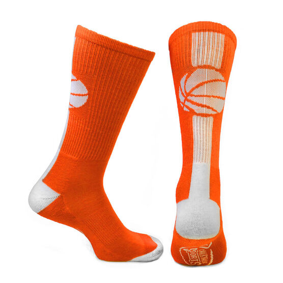 Basketball Woven Mid Calf Socks - Superelite (Orange/White)