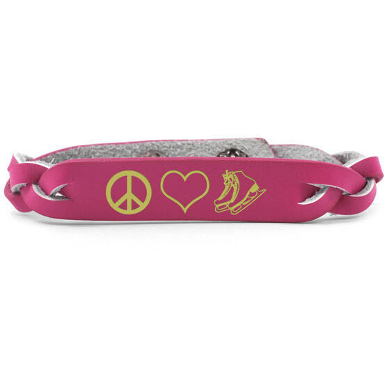 Figure Skating Leather Engraved Bracelet Peace Love Figure Skating