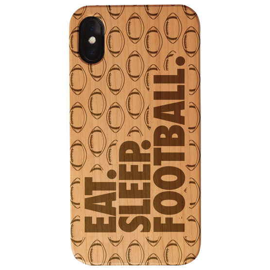 Football Engraved Wood IPhone® Case - Eat. Sleep. Football.