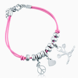 Peace. Love. Cheerleader Silver Charm Bracelet - Cheer Girl