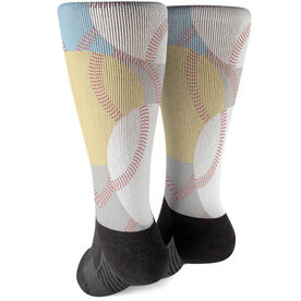 Baseball Printed Mid-Calf Socks - All Over Pattern