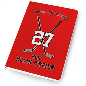 Hockey Notebook Personalized Hockey Team Crossed Sticks
