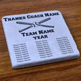 Softball Stone Coaster Thanks Coach With Team Roster