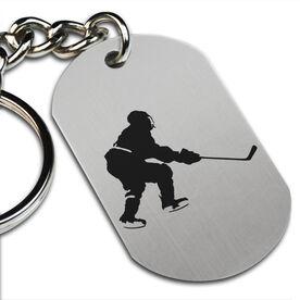 Hockey Player Printed Dog Tag Keychain