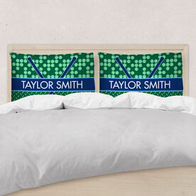 Hockey Pillowcase - Personalized 2 Tier Patterns With Crossed Sticks