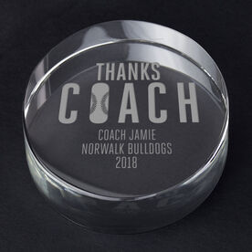 Baseball Personalized Engraved Crystal Gift - Thanks Coach