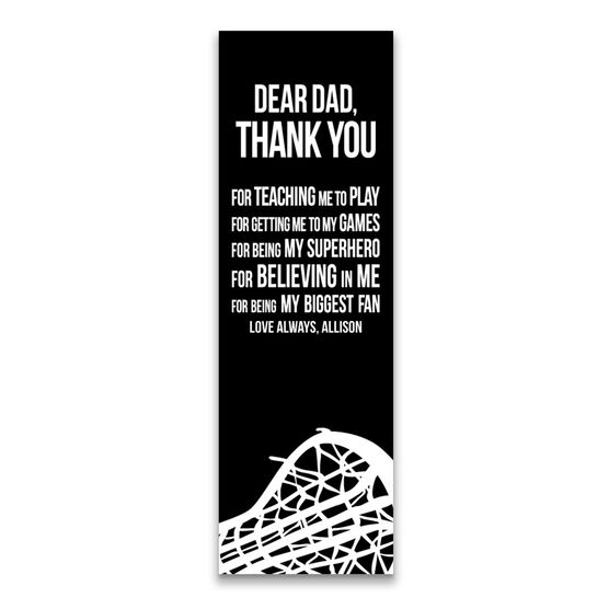 "Girls Lacrosse 12.5"" X 4"" Removable Wall Tile - Dear Dad (Vertical)"