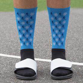 Skiing Printed Mid-Calf Socks - Pattern