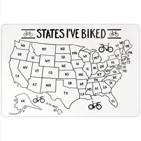"Personalized 18"" X 12"" Aluminum Room Sign - States I've Biked Outline"