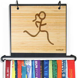 Engraved Bamboo BibFOLIO+™ Race Bib and Medal Display Runner Girl Stick Figure