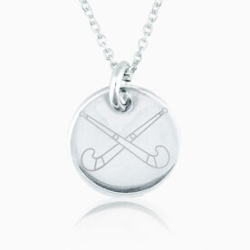 Sterling Silver 20mm Circle Necklace Field Hockey