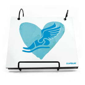 BibFOLIO® Race Bib Album - Watercolor Heart Winged Foot