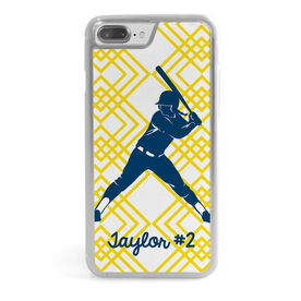 Softball iPhone® Case - Personalized Batter With Diamond Pattern