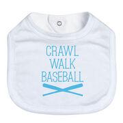 Baseball Baby Bib - Crawl Walk Baseball