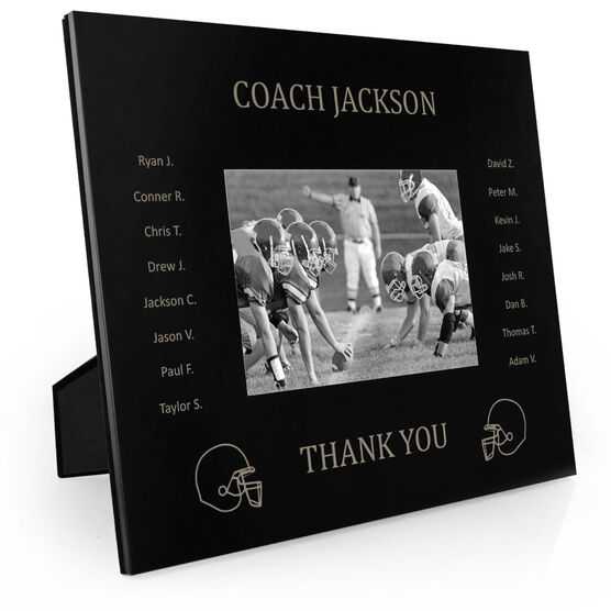 Football Engraved Picture Frame - Team Name With Roster (Coach)