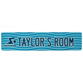 "Swimming Aluminum Room Sign - Personalized Swim Room Sign Guy (4""x18"")"