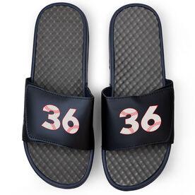 Baseball Navy Slide Sandals - Baseball Number Stitches