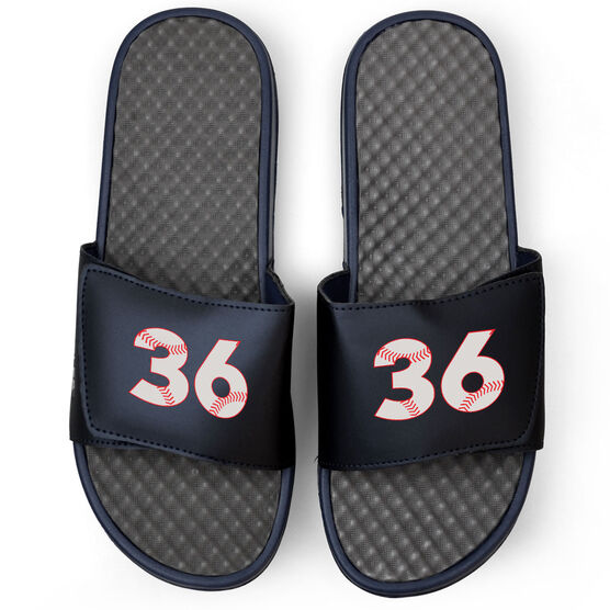 Baseball Navy Slide Sandals - Baseball Number Stitches
