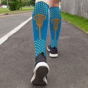 Girls Lacrosse Printed Knee-High Socks - Polka Dots with Stick