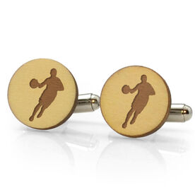 Basketball Engraved Wood Cufflinks Silhouettes
