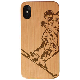 Skiing Engraved Wood IPhone® Case - Skier