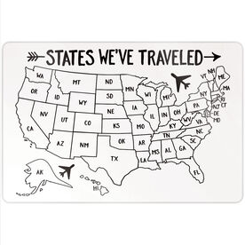 "Personalized 18"" X 12"" Aluminum Room Sign - States We've Traveled Outline"