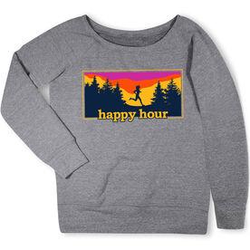 Running Fleece Wide Neck Sweatshirt - Happy Hour