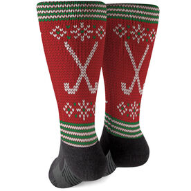 Field Hockey Printed Mid-Calf Socks - Christmas Knit