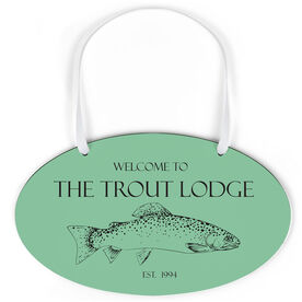 Fly Fishing Oval Sign - Welcome To Custom Text