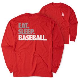 Baseball Tshirt Long Sleeve - Eat. Sleep. Baseball Bold Text (Logo Collection)