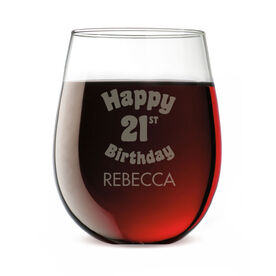 Personalized Stemless Wine Glass - Legally Happy Birthday