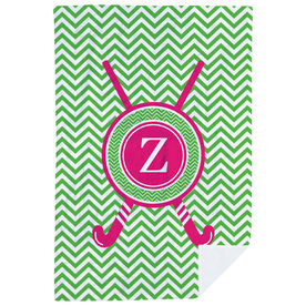 Field Hockey Premium Blanket - Single Letter Monogram With Crossed Sticks And Chevron