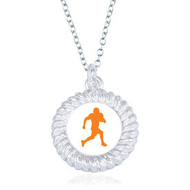 Football Braided Circle Necklace - Running Back Silhouette