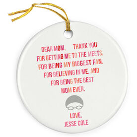 Swimming Porcelain Ornament - Dear Mom Heart