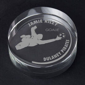 Soccer Personalized Engraved Crystal Gift - Customized Goalie