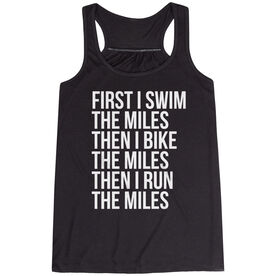 Flowy Racerback Tank Top - Swim Bike Run The Miles