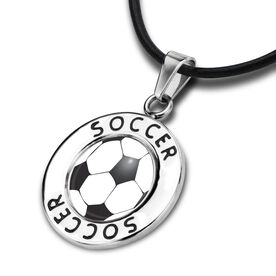 Soccer Circle Necklace Soccer Ball Graphic