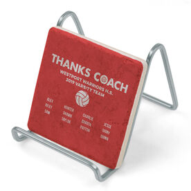 Volleyball Stone Coaster - Thanks Coach Roster