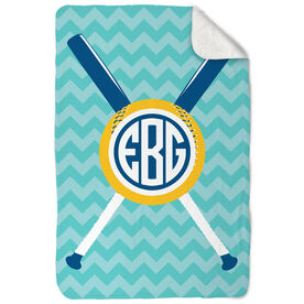 Softball Sherpa Fleece Blanket Monogrammed with Crossed Bats and Chevron