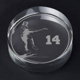 Girls Lacrosse Personalized Engraved Crystal Gift - Personalized Silhouette (Player)
