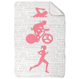 Triathlon Sherpa Fleece Blanket - Swim Bike Run Inspiration Female