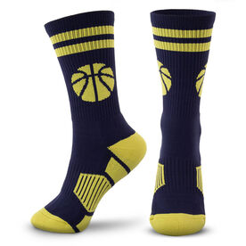 Basketball Woven Mid-Calf Socks - Ball (Navy/Gold)