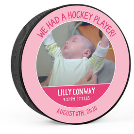 Personalized Hockey Puck - We Had A Hockey Player (Girl)