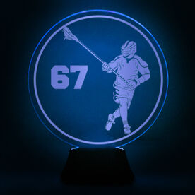 Guys Lacrosse Acrylic LED Lamp Round Defenseman With Number