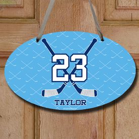 Hockey Oval Sign Personalized Hockey Crossed Sticks