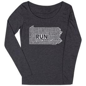 Women's Scoop Neck Long Sleeve Runners Tee Pennsylvania State Runner