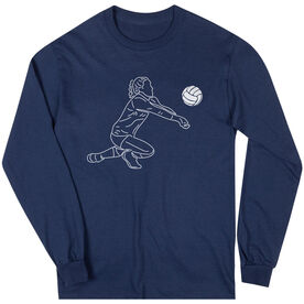 Volleyball Long Sleeve T-Shirt - Volleyball Girl Player Sketch