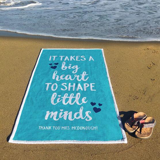 Personalized Premium Beach Towel - Teacher Big Heart Little Minds