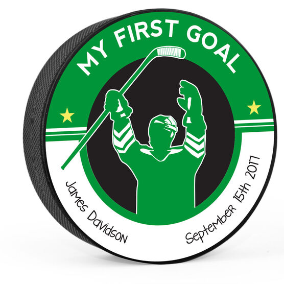 Personalized My First Goal (Write In) Hockey Puck