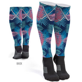 Field Hockey Printed Knee-High Socks - Tropical Palm Pattern